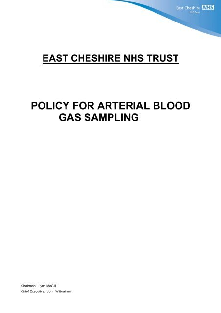 Arterial Blood Gas Sampling 1727pdf East Cheshire Nhs Trust