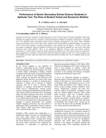 psychosocial factors as determinants of students achievement in senior secondary school mathematics 3 to inject mathematical education to the rarefied area of theoretical mathematics with a view to increasing the number of mathematicians yet in the face of all these efforts the rate and degree of students' poor performance in senior secondary school examination in mathematics must now be.