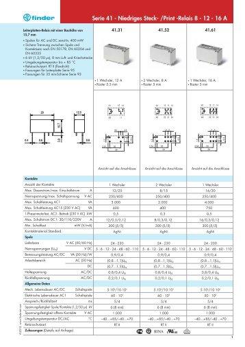 Serie 41 - Niedriges Steck- /Print -Relais 8 - 12 - 16 A