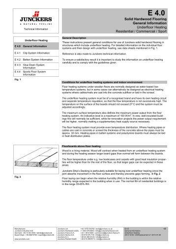 Solid Hardwood Flooring General Information Underfloor ... - Junckers