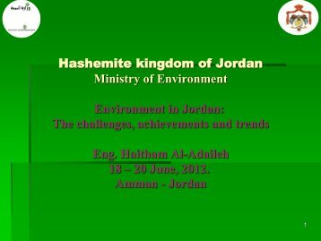 Environment in Jordan - Institute for Environmental Security