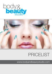 Our Price List - Body & Beauty Studio
