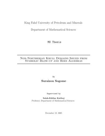 Thesis - King Fahd University of Petroleum and Minerals