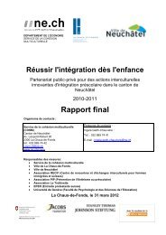 Rapport final avec recommandations concrètes - Canton de Neuchâtel