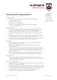 Satzung des SV Lippstadt 08 eV