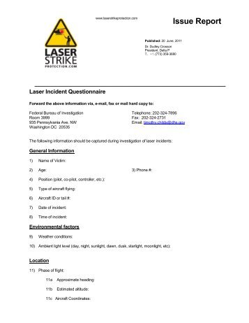 Laser Strike Incident Report Questionnaire - Night Flight Concepts