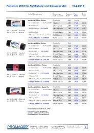 Preisliste 2012 für Abfallsäcke und Einlagebeutel 18.2 ... - Promag AG