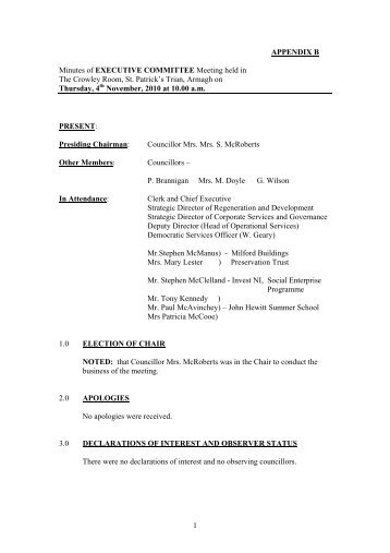 APPENDIX B Minutes of EXECUTIVE COMMITTEE Meeting held in ...