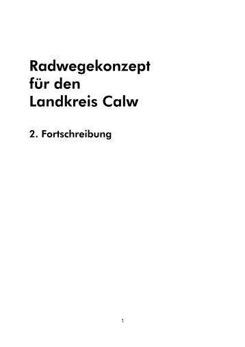 Radwegekonzept 2. Fortschreibung - Landkreis Calw
