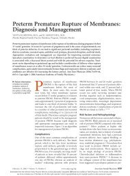 Preterm Premature Rupture of Membranes: Diagnosis and ...