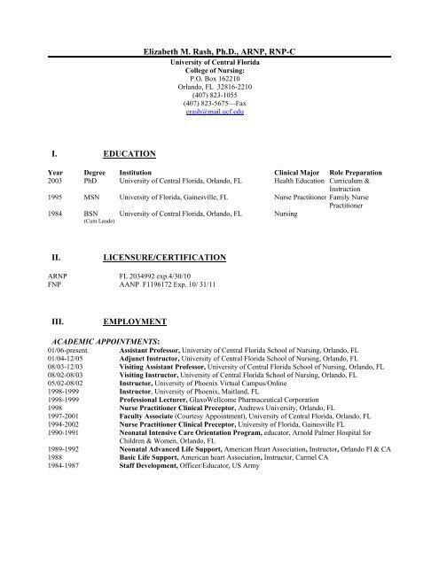 Ucf College Of Nursing >> Elizabeth M Rash Ph D Arnp Rnp C Ucf College Of