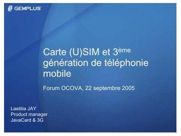 Carte (U)SIM et 3ème génération de téléphonie ... - forums OCOVA