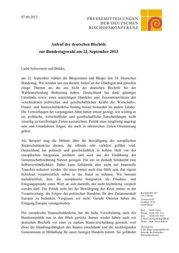 Aufruf der deutschen Bischöfe zur Bundestagswahl am 22 ...