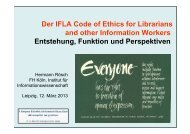 Der IFLA Code of Ethics for Librarians and other ... - OPUS Bayern