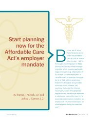 planning now for the Affordable Care Act's employer mandate - WICPA