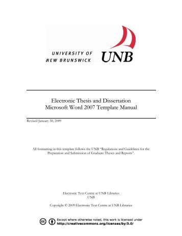 Electronic Thesis and Dissertation Microsoft Word 2007 Template ...