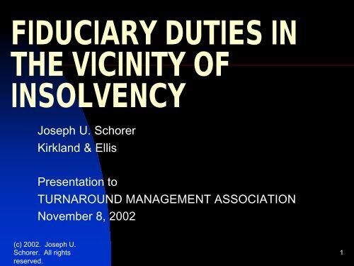fiduciary duties in the vicinity of insolvency - Turnaround ...