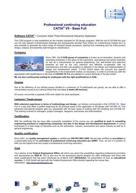 CATIA V5 – Base Full - C-Con GmbH