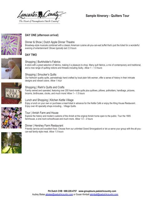 Sample Itinerary Quilters Tour Group Tours Lancaster