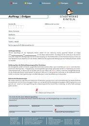 Auftrag zur Lieferung von Erdgas - Stadtwerke Rinteln