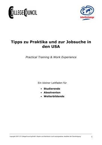 Tipps zu Praktika und zur Jobsuche in den USA - International Office