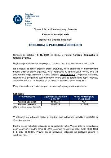etiologija in patologija debelosti - Visoka Åola za zdravstveno nego ...