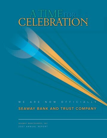 annual report trust bank Chairman's letter dear customers and friends: 2015 was a very good year for the bank in many important ways the investments we made.