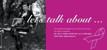 Einladung: Let´s talk about... .pdf - Wiener Krebshilfe