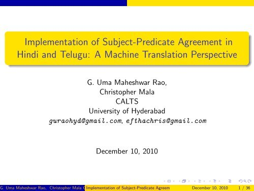 Implementation of Subject-Predicate Agreement in Hindi and