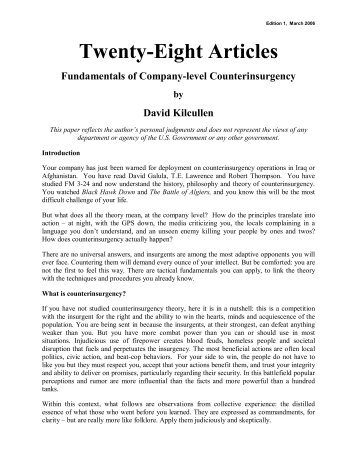 Twenty-Eight Articles - Small Wars Journal