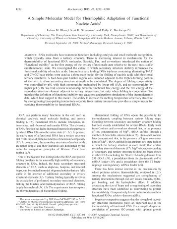 A Simple Molecular Model for Thermophilic Adaptation ... - CiteSeerX