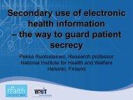 Secondary use of electronic health information ... - World of Health IT