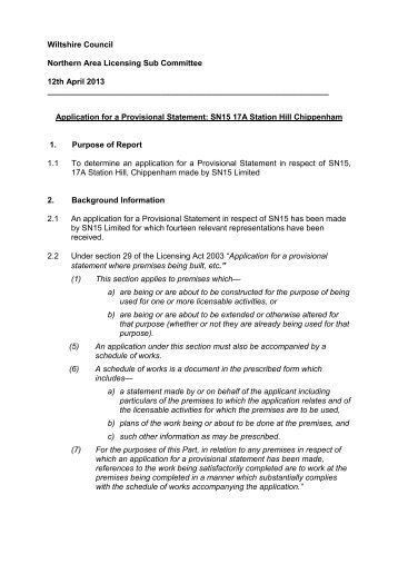 Report SN15 April 2013 Provisional Statement ... - Wiltshire Council