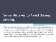 Some Mistakes to Avoid During Moving.