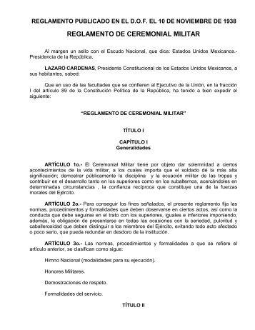 Reglamento del Ceremonial Militar - Secretaría de la Defensa ...