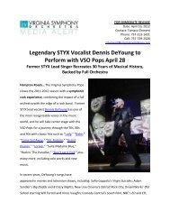 Legendary STYX Vocalist Dennis DeYoung to Perform with VSO ...