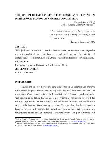INSTITUIÇÕES E INCERTEZA - Instituto de Economia da UFRJ