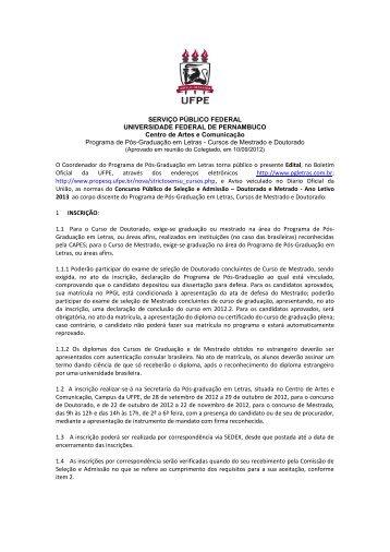 Acesse aqui o Edital de Seleção 2013 (.pdf) - UFPE PPGL