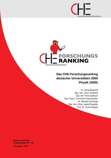 Das Che-Forschungsranking deutscher Universitäten 2009 Physik ...