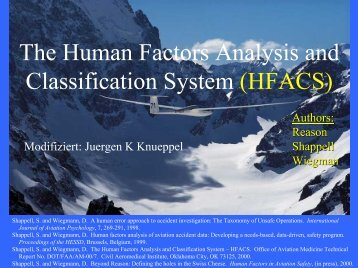 The Human Factors Analysis and Classification System (HFACS)