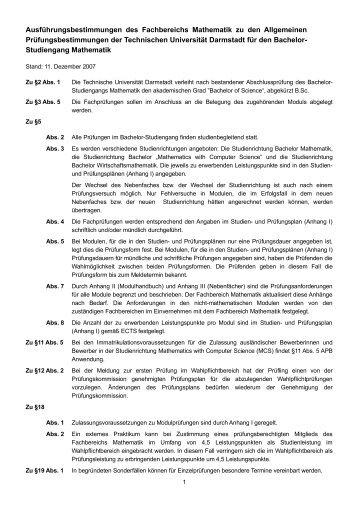 Ausführungsbestimmungen - Fachbereich Mathematik - Technische ...