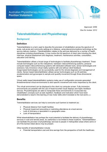 Telerehabilitation and Physiotherapy - Australian Physiotherapy ...