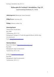 Delkursplan för Sociologi I, Introduktion, 3 hp, GN - Sociologiska ...
