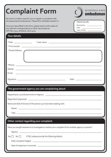 Financial Ombudsman Service Complaint Form Independent Assessors