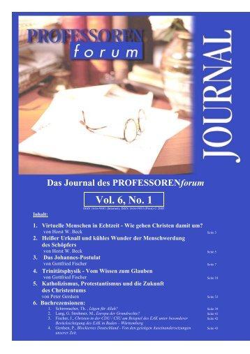 Vol. 1, No. 1 Vol. 6, No. 1 - Professorenforum
