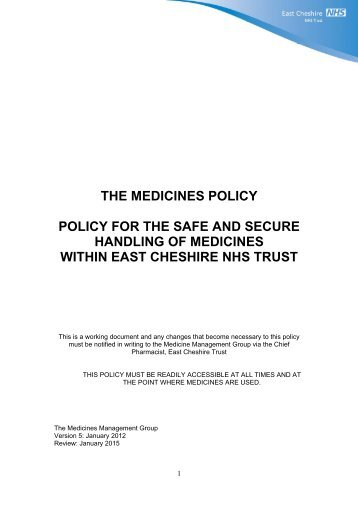 Trust's Policy for the Safe Handling of Medicines - East Cheshire ...