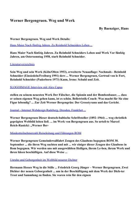 Download Werner Bergengruen Weg Und Werk Pdf Ebooks By
