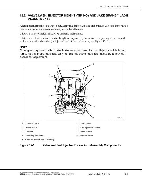 12.2 VALVE LASH, INJECTOR HEIGHT (TIMING) AND ... - ddcsn on