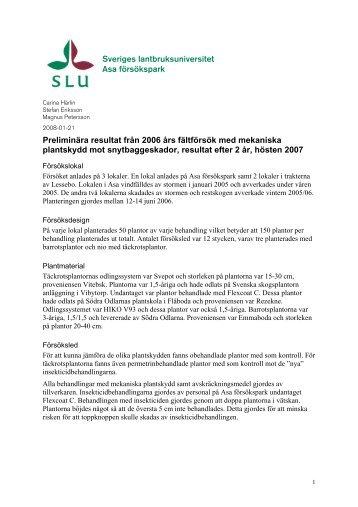 Sveriges lantbruksuniversitet Asa försökspark Preliminära ... - SLU