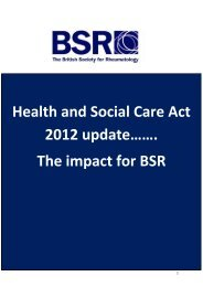 Health and Social Care Act 2012 update……. The impact for BSR